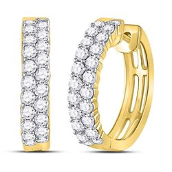 1 & 1/2 CTW Womens Round Diamond Hoop Earrings 10kt Yellow Gold - REF-109A2M