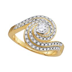 1/2 CTW Round Diamond Solitaire Swirl Bridal Wedding Engagement Ring 10kt Yellow Gold - REF-49V6Y