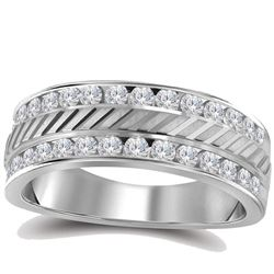 1/2 CTW Mens Machine-Set Round Diamond Wedding Band Ring 14kt White Gold - REF-74R9X