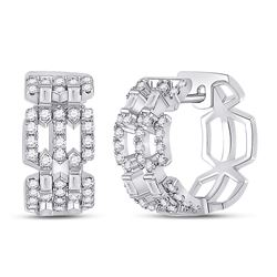 3/4 CTW Womens Baguette Diamond Link Huggie Earrings 14kt White Gold - REF-95W5H
