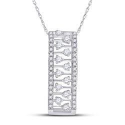 1/3 CTW Womens Round Diamond Rectangular Fashion Necklace 14kt White Gold - REF-37H5R