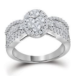 1 & 3/8 CTW Round Diamond Oval Cluster Bridal Wedding Engagement Ring 10kt White Gold - REF-143M2F