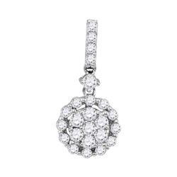 5/8 CTW Womens Round Diamond Flower Cluster Pendant 14kt White Gold - REF-44Y4N