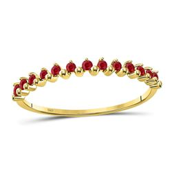 1/8 CTW Womens Round Ruby Single Row Stackable Ring 10kt Yellow Gold - REF-8X3T