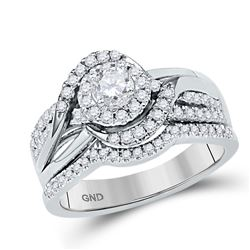 5/8 CTW Round Diamond Bridal Wedding Ring 14kt White Gold - REF-81M7F