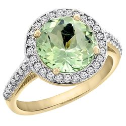 2.44 CTW Amethyst & Diamond Ring 10K Yellow Gold - REF-57X3M