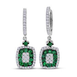 1 & 1/4 CTW Womens Round Emerald Diamond Dangle Earrings 18kt White Gold - REF-156T7V