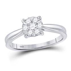 1/3 CTW Womens Round Diamond Flower Timeless Cluster Ring 10kt White Gold - REF-34T3V
