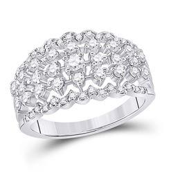 7/8 CTW Womens Round Diamond Anniversary Ring 14kt White Gold - REF-80R4X