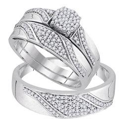 1/2 CTW His Hers Round Diamond Cluster Matching Wedding Set 10kt White Gold - REF-61V9Y
