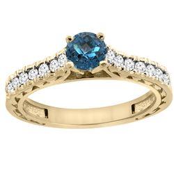 0.86 CTW London Blue Topaz & Diamond Ring 14K Yellow Gold - REF-62H5M