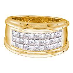 1/2 CTW Mens Princess Diamond Comfort Wedding Anniversary Band Ring 14kt Yellow Gold - REF-88N5A