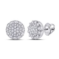 1/2 CTW Womens Round Diamond Cluster Earrings 14kt White Gold - REF-53H3R