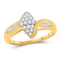 1/4 CTW Womens Round Diamond Oval Cluster Baguette Ring 10kt Yellow Gold - REF-21W2H