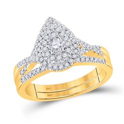 1/2 CTW Round Diamond Bridal Wedding Ring 10kt Yellow Gold - REF-64A8M
