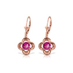 Genuine 1.10 ctw Pink Topaz Earrings 14KT Rose Gold - REF-38P2H
