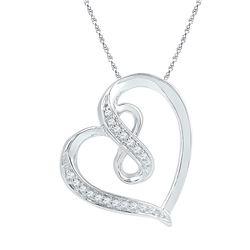 1/20 CTW Womens Round Diamond Heart Infinity Pendant 10kt White Gold - REF-10T9V