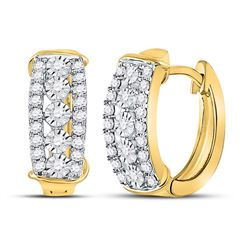1/2 CTW Womens Round Diamond Huggie Earrings 10kt Yellow Gold - REF-47M6F