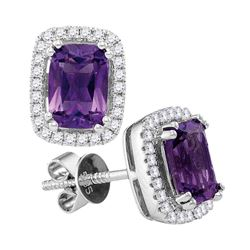 1 & 7/8 CTW Womens Oval Natural Amethyst Diamond Stud Earrings 14kt White Gold - REF-58R5X