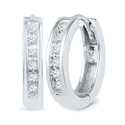 1/8 CTW Womens Round Diamond Hoop Earrings 10kt White Gold - REF-21T8V