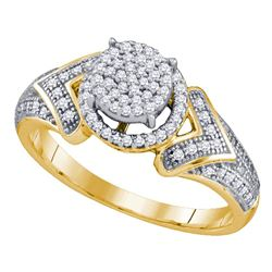 1/3 CTW Womens Round Diamond Cluster Ring 10kt Yellow Gold - REF-25F9W