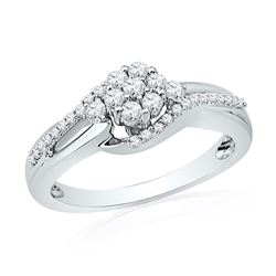 1/3 CTW Womens Round Diamond Flower Cluster Ring 10kt White Gold - REF-32X7T