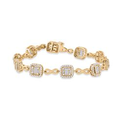 1 & 3/4 CTW Womens Baguette Diamond Square Link Bracelet 14kt Yellow Gold - REF-204A5M