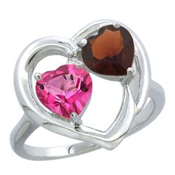 2.61 CTW Diamond, Pink Topaz & Garnet Ring 10K White Gold - REF-23N7Y