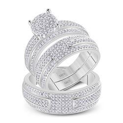 1 CTW His Hers Round Diamond Cluster Matching Wedding Set 14kt White Gold - REF-102V3Y
