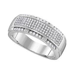 1/2 CTW Mens Round Diamond Pave Band Ring 10kt White Gold - REF-70V3Y