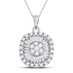3/4 CTW Womens Round Diamond Flower Cluster Pendant 14kt White Gold - REF-47W6H