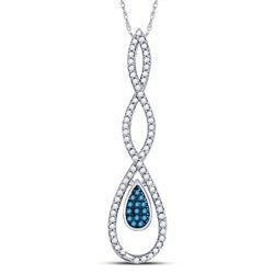 1/5 CTW Womens Round Blue Color Enhanced Diamond Teardrop Pendant 10kt White Gold - REF-17M6F