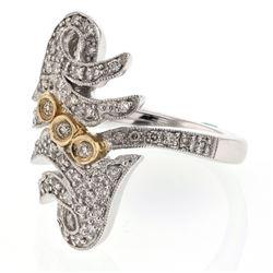 0.50 CTW Diamond Ring 14K 2Tone Gold - REF-70N8Y