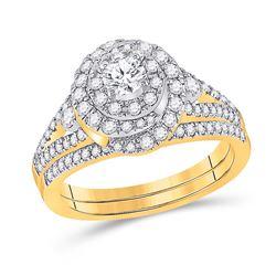 1 CTW Round Diamond Bridal Wedding Ring 14kt Yellow Gold - REF-136F4W