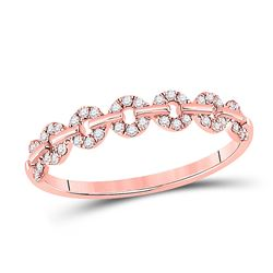 1/6 CTW Womens Round Diamond Stackable Band Ring 14kt Rose Gold - REF-18N5A