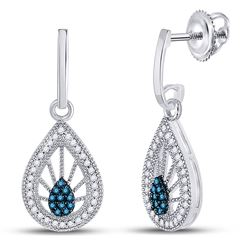 1/4 CTW Womens Round Blue Color Enhanced Diamond Teardrop Earrings 10kt White Gold - REF-24V5Y