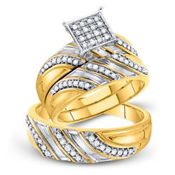 3/8 CTW His Hers Round Diamond Square Matching Wedding Set 10kt Yellow Gold - REF-55Y3N