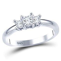 1/2 CTW Princess Diamond 3-stone Bridal Wedding Engagement Ring 14kt White Gold - REF-56T6V