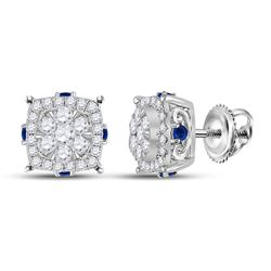 5/8 CTW Womens Round Diamond Blue Sapphire Cluster Earrings 14kt White Gold - REF-61Y4N