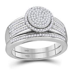 3/8 CTW Round Diamond Bridal Wedding Ring Band Set 10kt White Gold - REF-47T6V