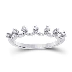 1/12 CTW Womens Round Diamond Band Ring 10kt White Gold - REF-15V2Y