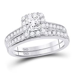 1 & 1/4 CTW Princess Diamond Halo Bridal Wedding Ring 14kt White Gold - REF-228T3V