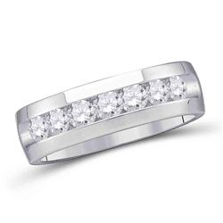 1/4 CTW Mens Round Channel-set Diamond Wedding Band Ring 14kt White Gold - REF-74N9A