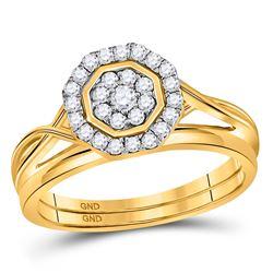 1/3 CTW Round Diamond Bridal Wedding Ring 10kt Yellow Gold - REF-29R9X