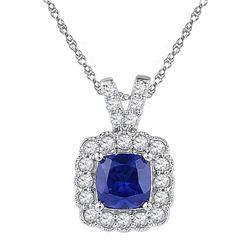 3 & 1/2 CTW Womens Round Lab-Created Blue Sapphire Solitaire Pendant 10kt White Gold - REF-31A4M