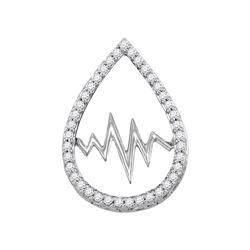 1/5 CTW Womens Round Diamond Heartbeat Teardrop Pendant 14kt White Gold - REF-24V5Y