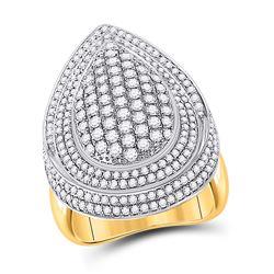 2 & 1/5 CTW Womens Round Diamond Teardrop Cluster Ring 14kt Yellow Gold - REF-259T3V