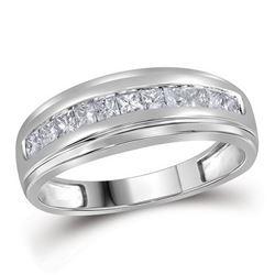 1/2 CTW Mens Princess Diamond Single Row Wedding Band Ring 10kt White Gold - REF-42V8Y