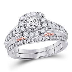 1 CTW Round Diamond Bridal Wedding Ring 14kt Two-tone Gold - REF-129R5X
