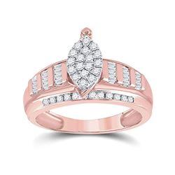 1/2 CTW Round Diamond Cluster Bridal Wedding Engagement Ring 10kt Rose Gold - REF-45Y2N